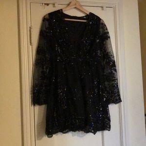 Sequence black babydoll dress w/plunging neckline